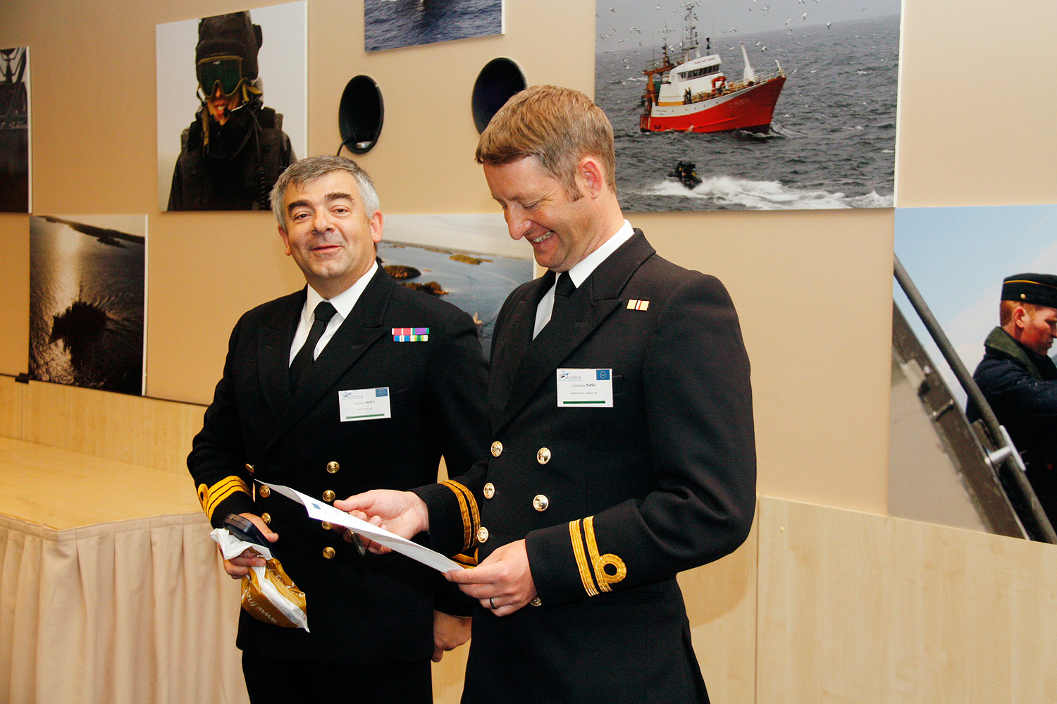 Commander of Her Majesties Royal Navy, Steve Smith and Lieutenant Robin Nash