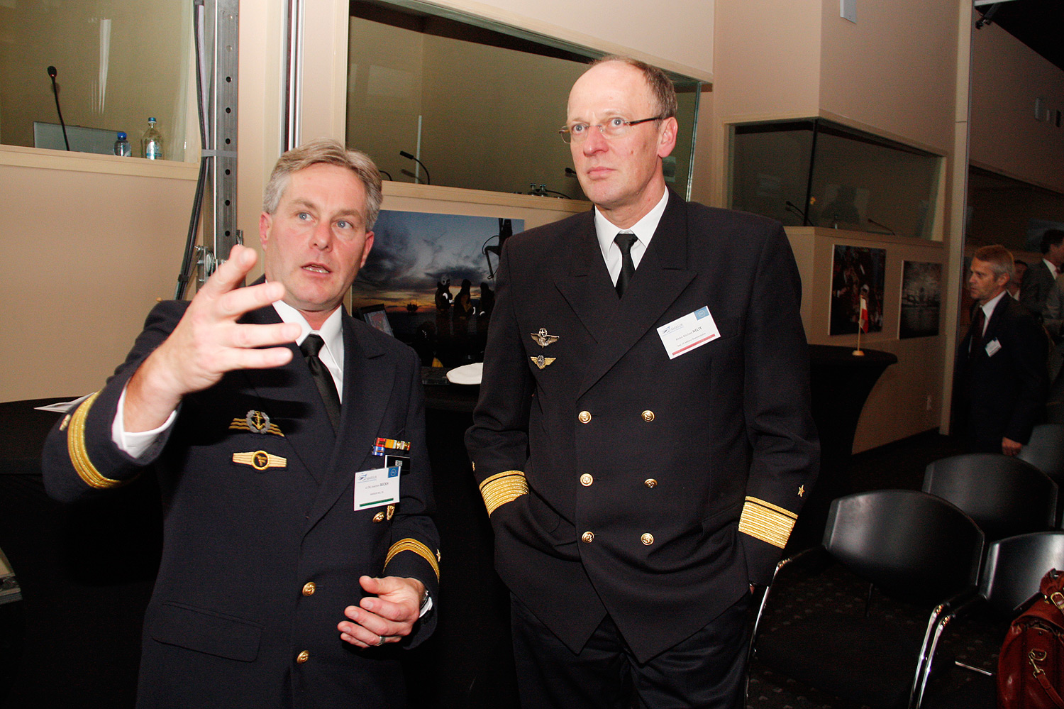 Rear Admiral Nelte from the German Military Representative to NATO and EU with Lieutenant Beckh
